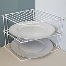 Euro Ware Space Saving 2 Tier White Corner Kitchen Shelf Plate Dish Organizer
