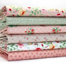 6 x FQ BUNDLE - BLUSH PINK & GREEN SMALL & TINY FLORAL - 100% COTTON FABRIC