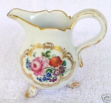 """18th Century MEISSEN Porcelain Floral Gilded Footed Creamer - 4"""" Tall"""