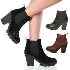 WOMENS LADIES HIGH HEEL BLOCK PLATFORM CHUNKY CHELSEA RIDING ANKLE BOOTS SIZE