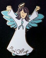 Teal Ribbon Angel Lapel Pin Ovarian Cancer Awareness Brown Brunette Cap Tac New