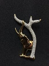 Beautiful Gold Tone Swarovski Crystal Elephant Pin Brooch  FS