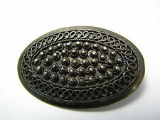 HANDCRAFTED SOLID STERLING SILVER PIN BROOCH FILIGREE Jerusalem Palestine c1940s