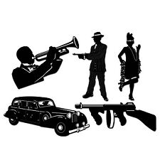 Pack of 5 Gangster Silhouette Decorations -1920's Party Decorations