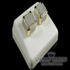 REAL .40CT GENUINE DIAMOND 11MM SCREWBACK CUBE STUD EARRINGS YELLOW GOLD FINISH