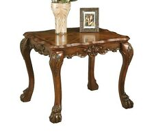 DRESDEN Traditional Cherry Oak Fine Wood Claw Foot Carving Square Side End Table