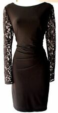 Eliza J Black Lace Long Sleeves Stretch Knee Lenght Cocktail Black Dress 6