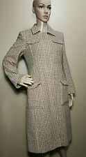 E. Wool vtg J.CREW  Long Over Coat Button Down Lined TanBrown Multicolor Sz 4