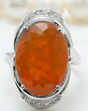 9.61CTW Natural Mexican Fire Opal and Diamonds in 14K White Gold Women Ring