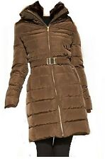 MICHAEL Kors Hooded Faux Fur Trim Belted Down Puffer winter jacket coat SZ M
