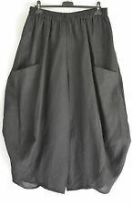 FAB GERMAN CHAMPAGNE  BLACK LINEN  BALLOON/HAREM TROUSERS SZ M/L