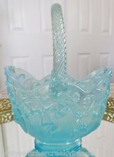 FENTON Art Glass Lily Of The Valley Blue Opalescent Iridized Basket