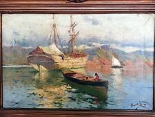 BEAUTIFUL ANTIQUE PAIR SPANISH PAINTING MARINE OIL ON CANVAS OF HERNANDEZ MONJO