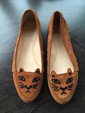 Charlotte Olympia Kitty Moccasins Suede Cat Ballet Flats Shoe SZ 37 7 6.5 Fringe