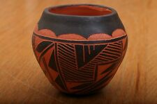 Native American Acoma Indian Pottery Hand Painted Pot By JS Orange and Black