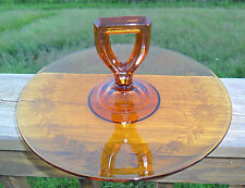 Vintage Amber Pressed Glass Center Handle Tidbit Snack Sandwich Tray Etched