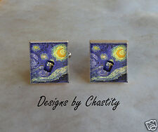 Doctor Who Scrabble Cufflinks Tardis Time Machine Starry Night Van Gogh
