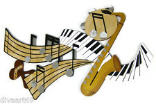 New Music Notes & Keys Abstract Wall Sculpture Wood, Metal, Mirror  44x25