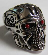 ROBOT SKULL HEAD W RED EYES STAINLESS STEEL RING size 8 silver metal S-527 biker