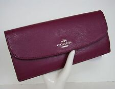 NWT Coach Fuchsia Crossgrain Leather Soft Slim Flap Wallet Clutch 54008