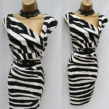Karen Millen Black/White Zebra Print Cocktail Wiggle Pencil Dress 14 UK