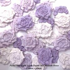 12 Pastel Purple Mix Sugar Roses edible flowers wedding cake decorations 30mm