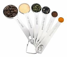 18/8 Stainless Steel Measuring Spoons, Set of 6 for Measuring Dry and Liquid