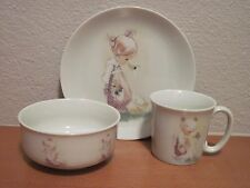 1984 Enesco Jonathan & David Precious Moments 3 Pc Place Setting Cup Bowl Plate