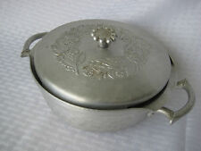 1940s Vintage Everlast Hand Forged Aluminum Serving Dish/Lid Leaves and Flowers