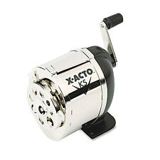 X-Acto KS Manual Classroom Pencil Sharpener Counter/Wall-Mount Black/Chrome 1031