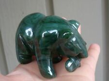 "3"" long Canadian Top Grade  Carved Jade Bear Catching Fish"