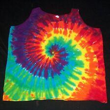 Tie Dye Woman's Tank Top 3XL Rainbow Spiral Hand Tye Dyed 3X XXXL Hippie