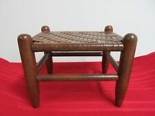 Small Country Woven Footstool Ottoman Seat