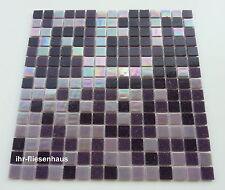 Glasmosaik Mosaik Matte Metallic Lila Violett 32,7x32,7cm; Steinchen 2x2cm