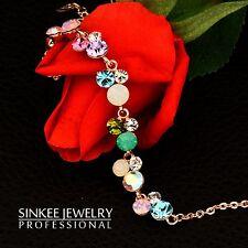 Charm Multicolor Zircon Bracelets for Women Lady Girl 18K Rose Gold Plated SL199