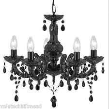 Searchlight Vanessa 5 Light Candle Chandelier in Black