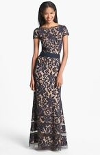 NWT navy & nude TADASHI SHOJI cap sleeve lace gown  size 8
