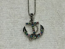 Silver Tone Anchor Multi-Color Rhinestone Navy military Nautical Necklace