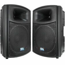 "2 POWERED 15"" SEISMIC AUDIO PA SPEAKERS Active DJ Band"