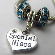 Niece European Charm Pendant And Birthstone Beads For Large Hole Bracelets