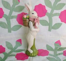 Large Boy Bunny with Basket of Easter Eggs Vintage Style 16 inches
