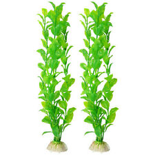"2 pcs Aquarium Fish Tank AquasCaPing Green Plastic Plant 12.2"" Tall New"