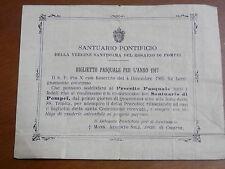 Biglietto comunione SANTUARIO PONTIFICIO Vergine Rosario di Pompei Pasquale 1917
