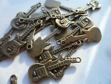 50  Bronze Electric Guitar charms Bulk Buy Crafting & jewellery making 30x10mm