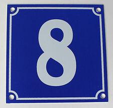 """Aluminium Hausnummer """"8"""" 10x10cm blau Hausnummernschild sofort lieferbar Schild"""
