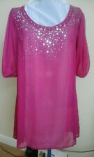 MONSOON ACCESSORIZE - WOMANS CERISE TUNIC BEACH TOP - SIZE 16 - NEW WITH TAGS