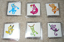 Lot of 12 cute neon monkey temporary children's tattoos party favor goody bags