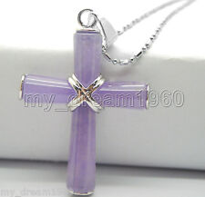 Prayer Cross Crucifix Purple JADE Silver Women Men Pendant