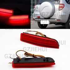 2x LED Red Lens Rear Bumper Reflector Brake Light for Toyota RAV4 PREVIA Alphard