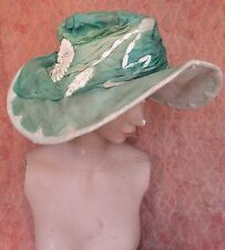 1920s Seafoam Green Silk Chiffon Wide Brim Hat Embroidery Brandenstein Wisconsin